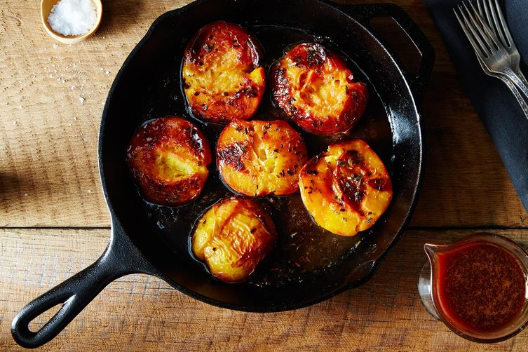 Rosemary Roasted Peaches with Caramel