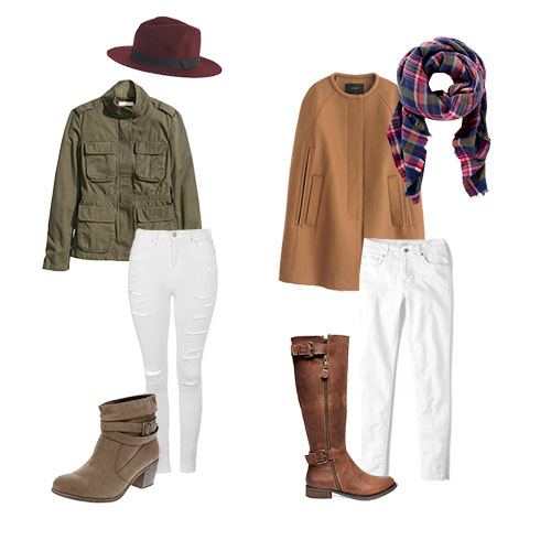 White Jeans and Boots for Cold Season