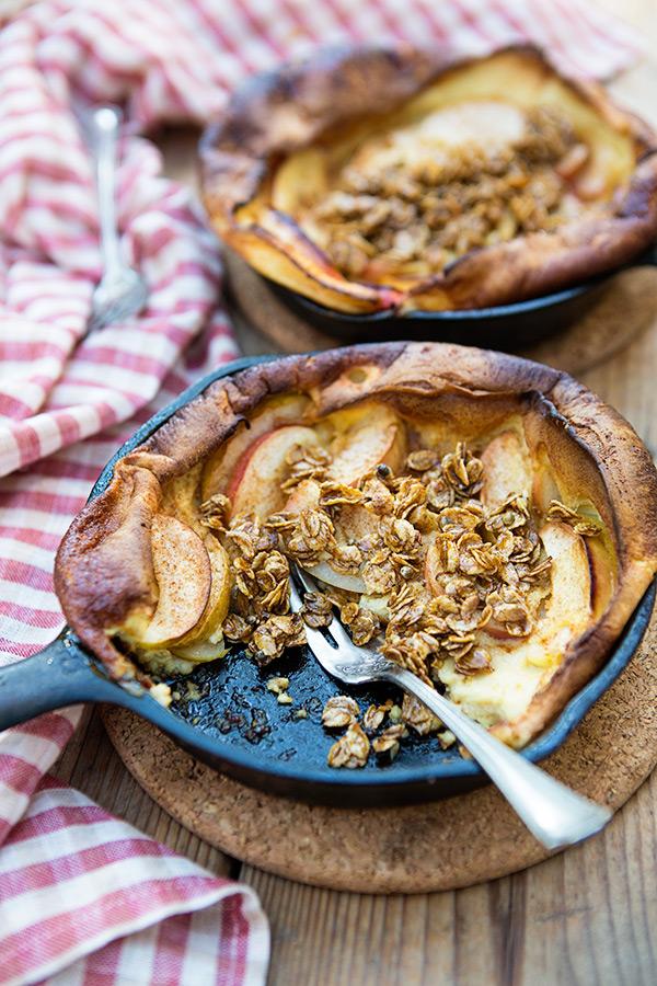 maple crunch apple puff pancakes
