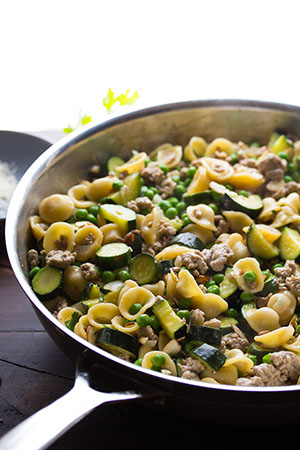One Pan Orecchiette with Ground Turkey and Zucchini