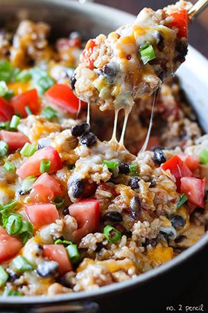 One Pan Chicken Burrito Bowls
