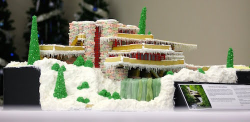 Falling Water at Christmas Gingerbread house