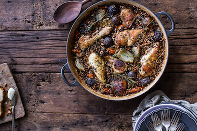 Herb Roasted Chicken With Butter Toasted Wild Rice Pilaf