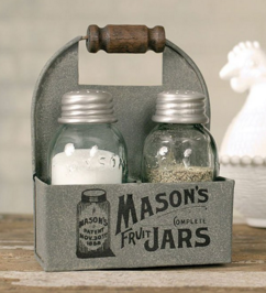 Mason's Jars Box Salt and Pepper Caddy with Wood Handle