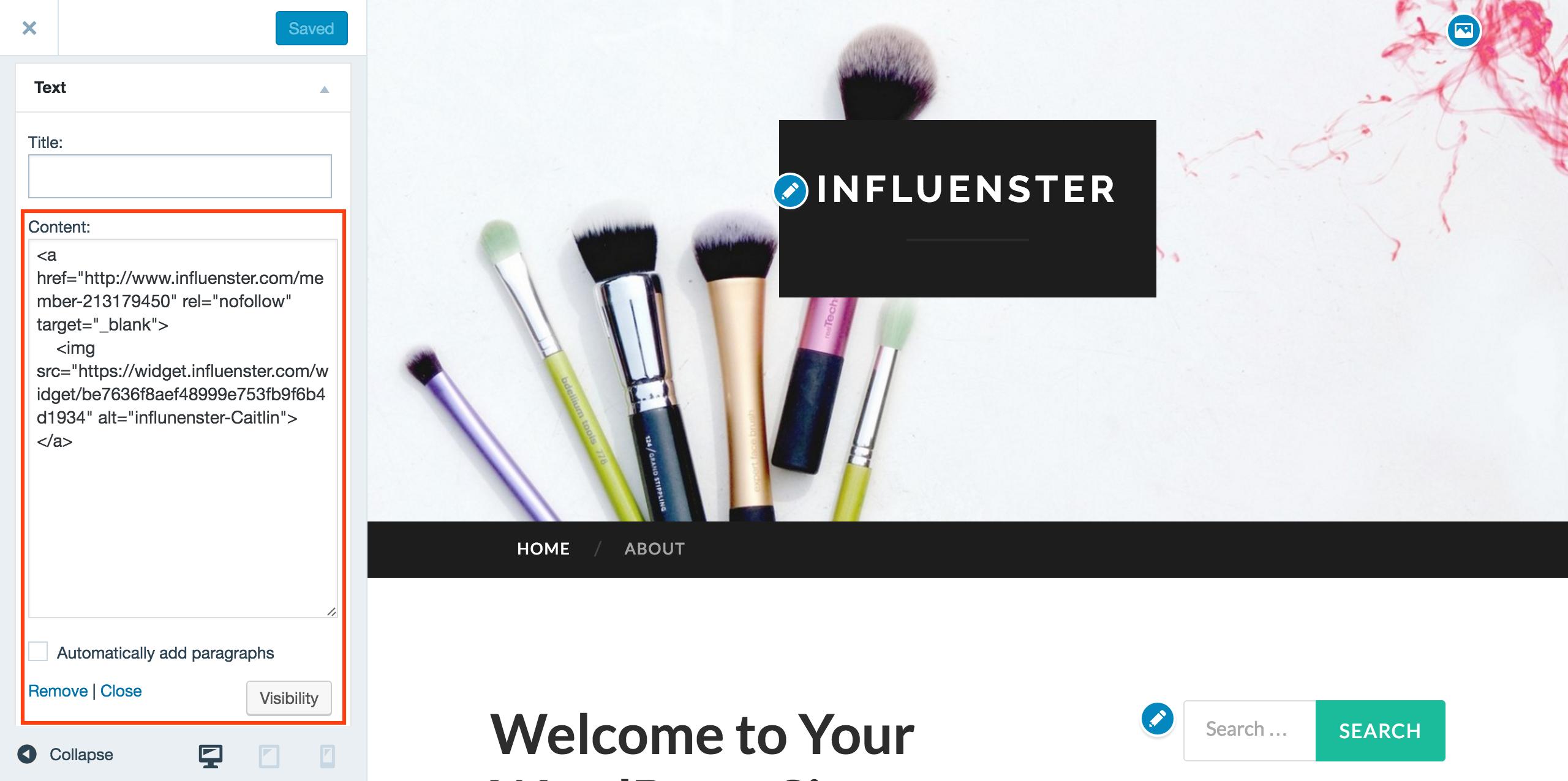 Adding Influenster Blog Widget