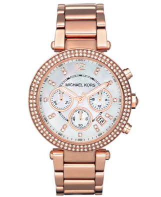 Michael Kors 'Parker' Chronograph Bracelet Watch Rose Gold
