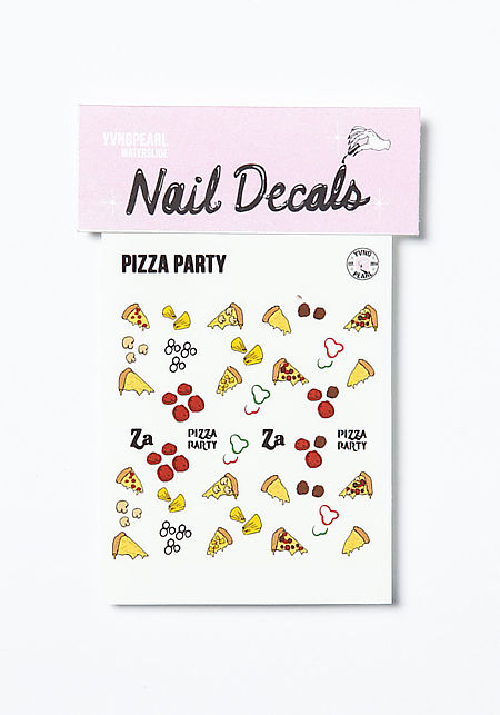 pizza party nail decals