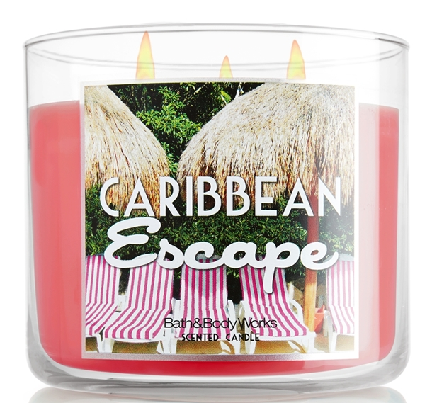 Bath & Body Works 3 Wick Candle Caribbean Escape