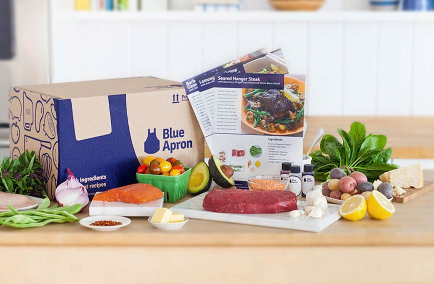 inside a blue apron box