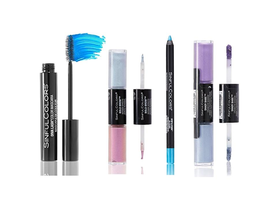 f7514c71fc7 L to R: Diva Lash Color Mascara in Lash Splash, the Bold Brow Intense Brow  Effects in Stormy Fierce, the Stop & Stare Gel Eyeliner in Provocative, ...