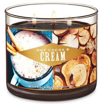 1 Bath /& Body Works HOT COCOA /& CREAM Large 3-Wick Candle